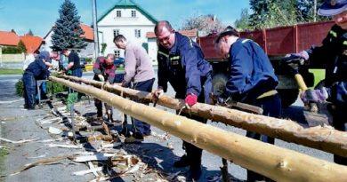 Kokořínští hasiči stojí u většiny projektů v obci, členové sboru nechybějí ani u stavění májek.