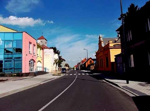 Boleslavská ulice ve Mšeně po rekonstrukci.